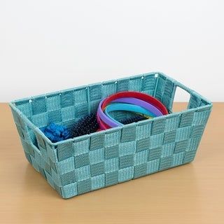 Small Polyester Woven Strap Open Bin, Teal