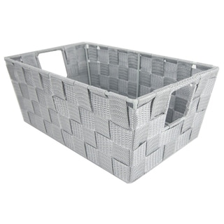 Multi-Purpose Stackable Small Woven Strap Open Bin with Cut-Out Handles, Cool Grey