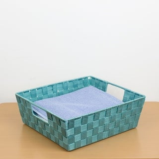 Large Polyester Woven Strap Open Bin, Teal