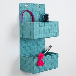 2 Tier  Polyester Woven  Hanging Organizer, Turquoise