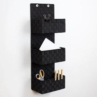 3 Tier  Polyester  Woven  Hanging Organizer, Black