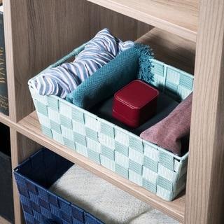 Small Polyester Woven Strap Open Bin, Mint
