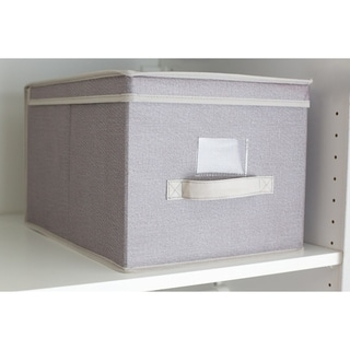 Kensington Collection  Faux Jute Non-Woven Fabric Collapsible Multi-Purpose Large Storage Box with Clear Window
