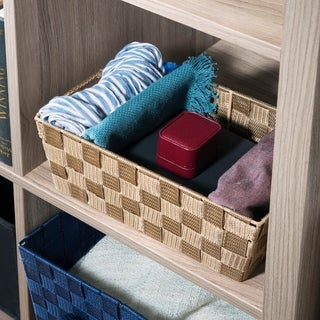 Small Polyester Woven Strap Open Bin, Tan
