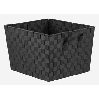 X-Large Polyester Woven Strap Open Bin, Black