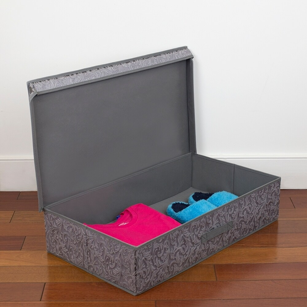 Damask Collection Non-Woven Under the Bed Storage Box, Grey