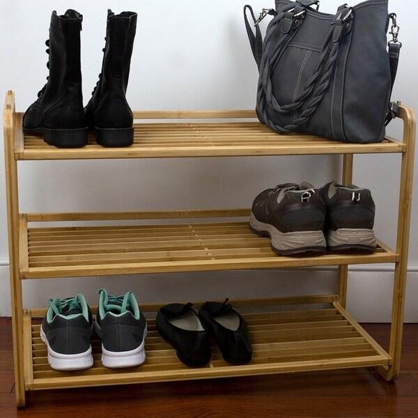 3 Tier Slatted Shelf Bamboo Shoe Rack, Natural