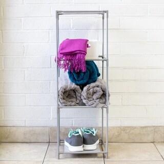 Multi-Purpose Free-Standing  3 Cubed Organizing Storage Shelf, Grey
