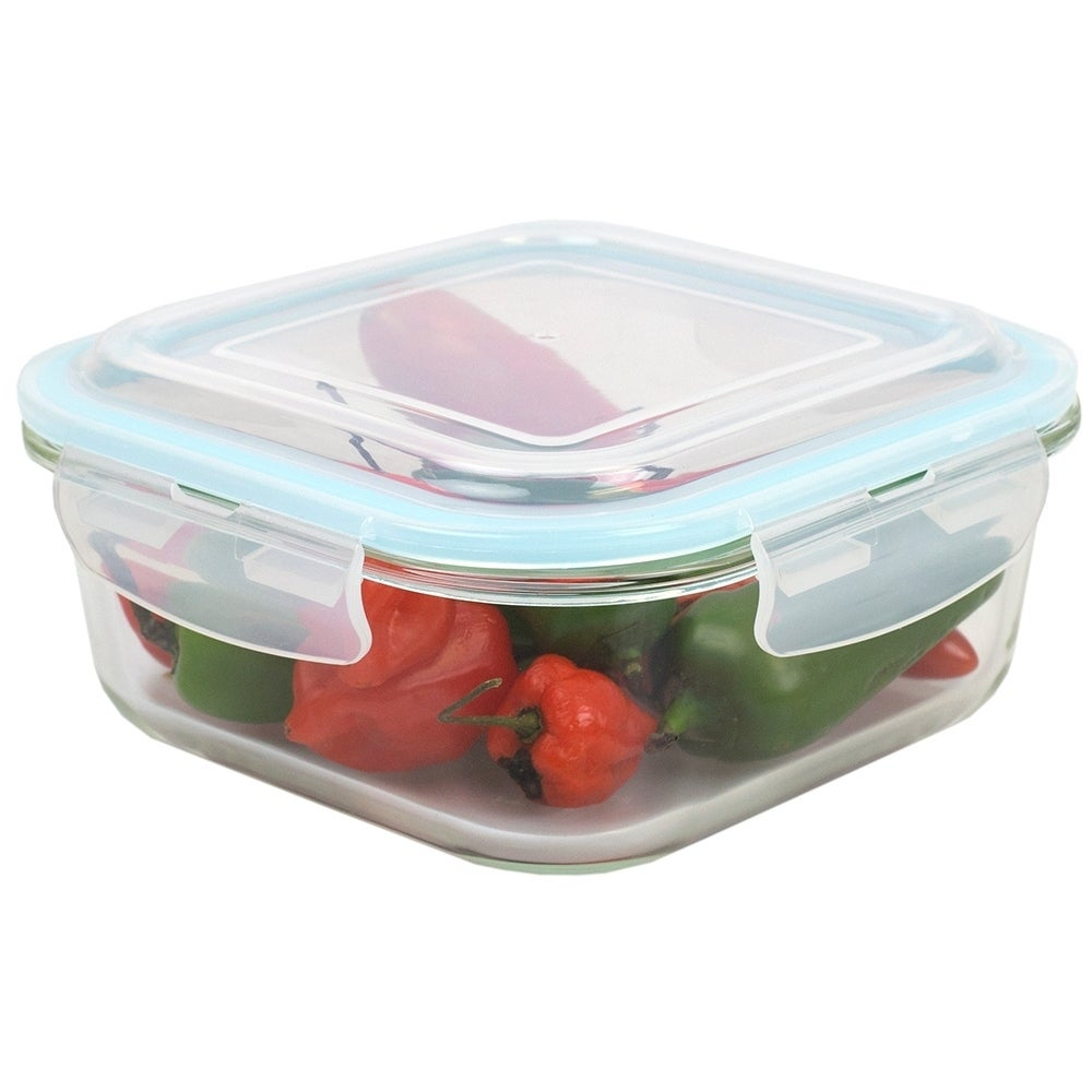 40 oz. Square Borosilicate Glass Food Storage Container with Leak-Proof and Air-Tight Plastic Locking Lid