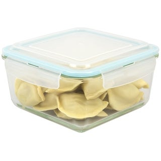 74 oz. Square Borosilicate Glass Food Storage Container with Leak-Proof and Air-Tight Plastic Locking Lid