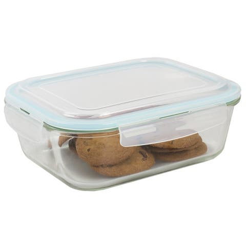 74 oz. Rectangle Borosilicate Glass Food Storage Container with Plastic Locking Lid