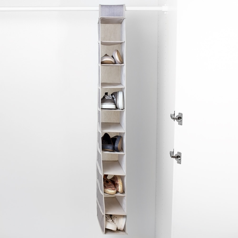 Kensington Collection Faux Jute Non-Woven Fabric 10 Shelf Collapsible Hanging Closet Organizer