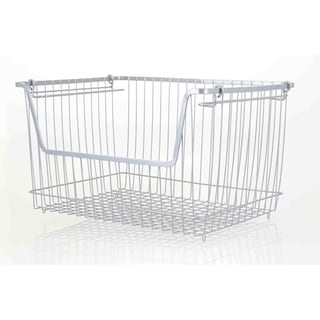 Large Powder Coated Steel Wire Storage Basket, Grey