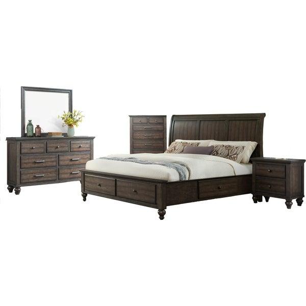 Cambridge Newport Storage 5-Piece Bedroom Suite includes Queen Bed, Dresser, Mirror, Chest, Nightstand in Ash Brown