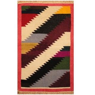 Handmade One-of-a-Kind Chenille Flatweave Rug (India) - 3' x 4'10