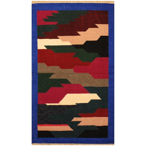 Handmade Herat Oriental Indo Hand-woven Chenille Flatweave Rug (3' x 5') - 3' x 5'