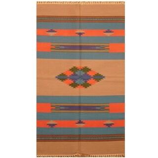 Handmade One-of-a-Kind Wool Kilim (India) - 3' x 5'2