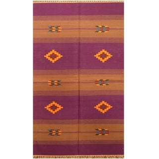 Handmade One-of-a-Kind Wool Kilim (India) - 3' x 5'