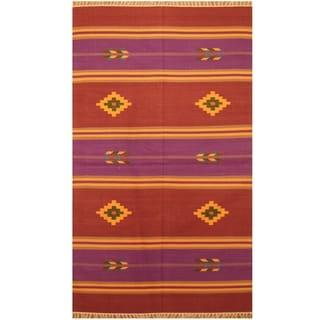 Handmade One-of-a-Kind Wool Kilim (India) - 3' x 5'1