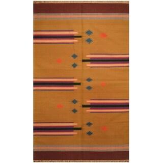 Handmade One-of-a-Kind Wool Kilim (India) - 4' x 6'3