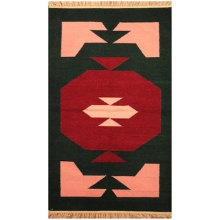 Handmade One-of-a-Kind Chenille Flatweave Rug (India) - 3'2 x 5'