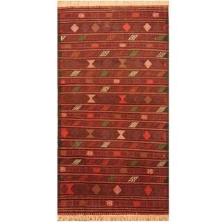 Handmade One-of-a-Kind Wool Kilim (Afghanistan) - 3'2 x 6'2