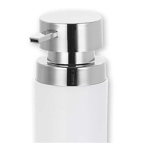 12 oz. Stainless Steel Round Soap Dispenser, White