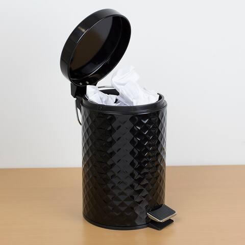 3 Liter Step-On Textured Steel Waste Bin, Black