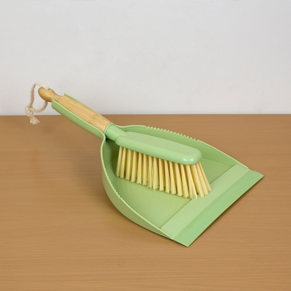 Bliss Collection Bamboo Dust Pan Set, Green