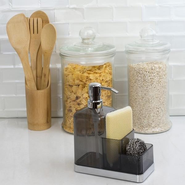 Plastic Soap Dispenser Organizer, Grey