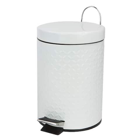 3 Liter Embossed Stainless Steel Waste Bin, White