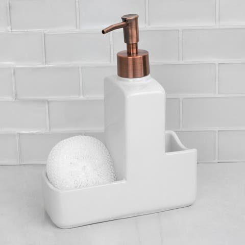 10 oz. Ceramic Soap Dispenser with Caddy and Rose Gold Top, White