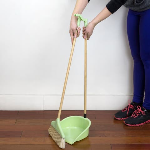 Bliss Collection Bamboo Dustpan with Broom, Green