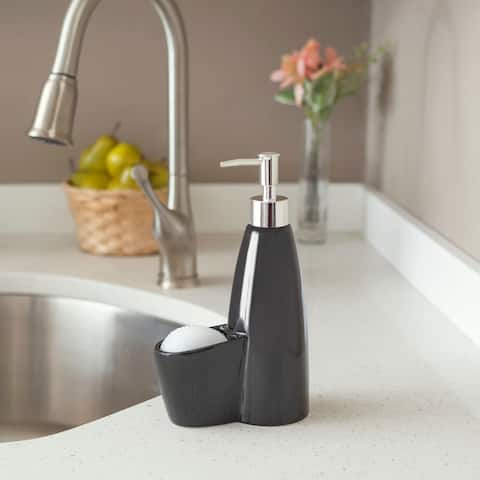 Tall Ceramic Soap Dispenser with Sponge
