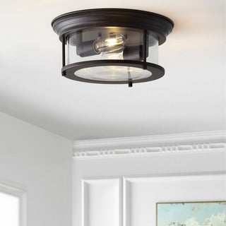 """Link to Lauren 13.25"""" Metal LED Flush Mount, Oil Rubbed Bronze by JONATHAN  Y Similar Items in Pendant Lights"""