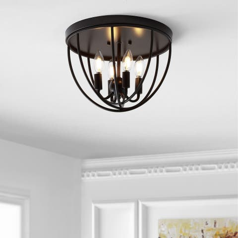 "Peter 13.75"" Metal LED Flush Mount, Oil Rubbed Bronze by JONATHAN Y"