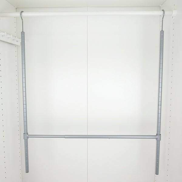 Powder Coated Steel 2 Tier Hanging Closet Organizer, Grey