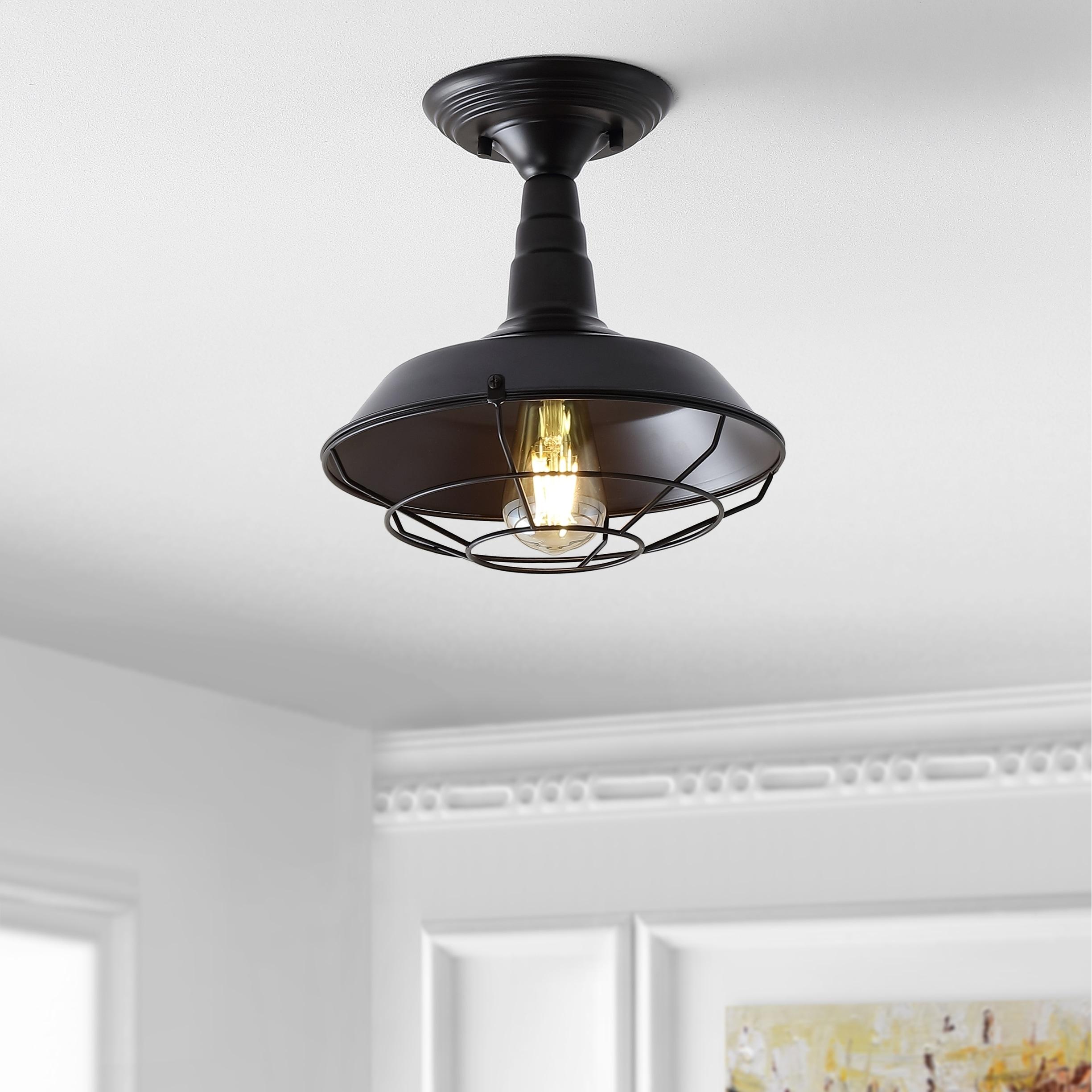 Gabe 10 Metal LED Semi-Flush mount, Oil Rubbed Bronze by JONATHAN  Y (Metallic/Black)
