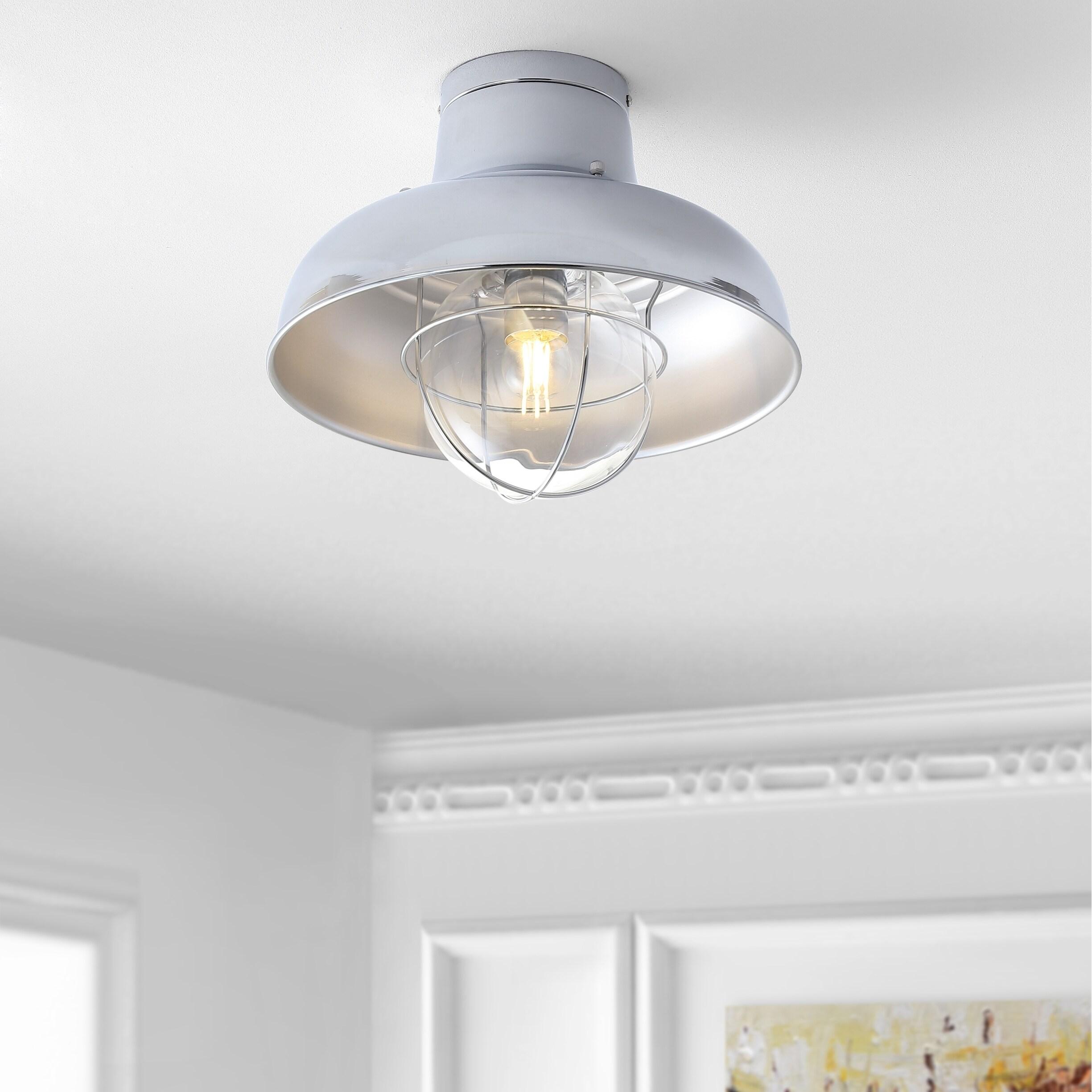 Cameron 13 Metal LED Semi-Flush mount, Chrome by JONATHAN  Y (Metallic/Grey)