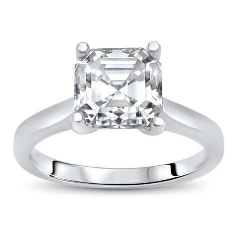 1.50ct TGW Asscher Moissanite Engagement Ring 14k White Gold