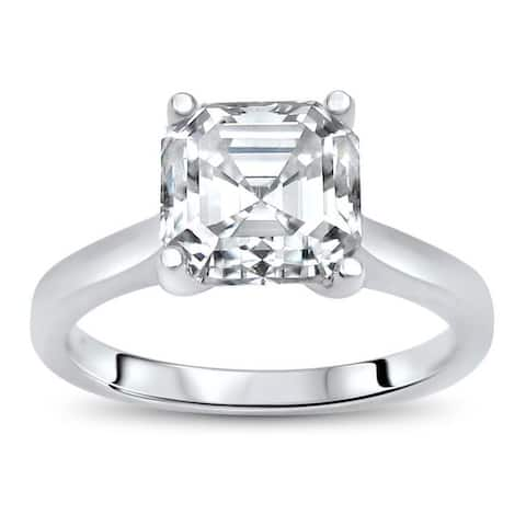 2ct TGW Asscher Moissanite Engagement Ring 14k White Gold