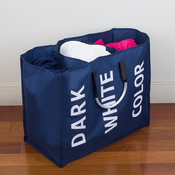 Triple Canvas Laundry Sorter with Aluminum Handles, Navy