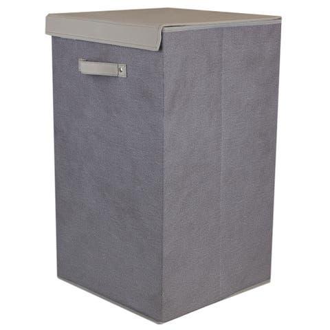 Kensington Collection Rectangular Faux Jute Non-Woven Fabric Hamper With Velcro Closure Lid
