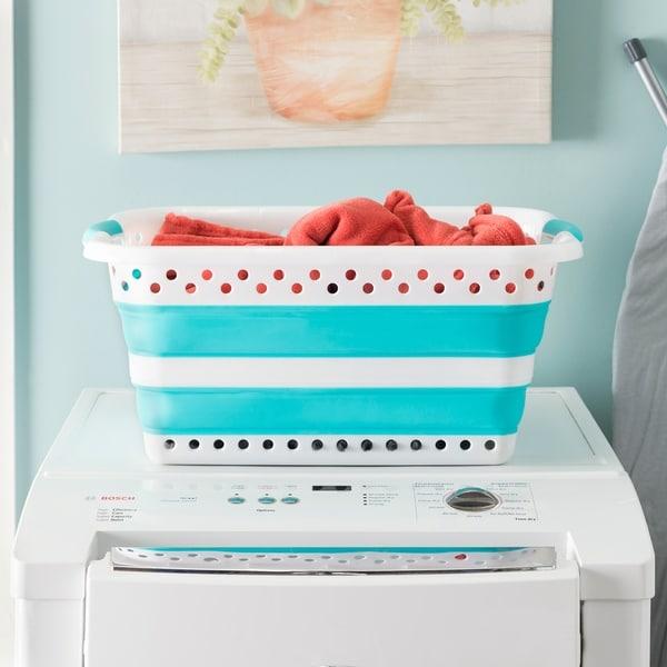 Collapsible Laundry Basket, Aqua