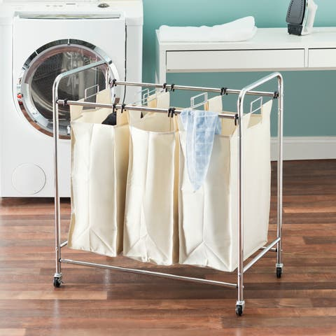 Triple Rolling Canvas Laundry Sorter, Natural