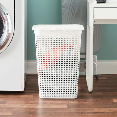 Plastic Weave Lidded Laundry Hamper with Cut-Out Handles, White