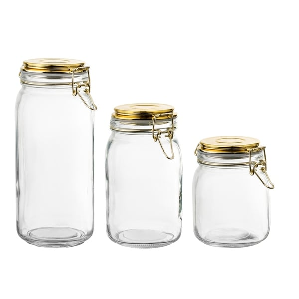 glass set of 3 canister wlgold lid 65oz, 50oz, 30oz