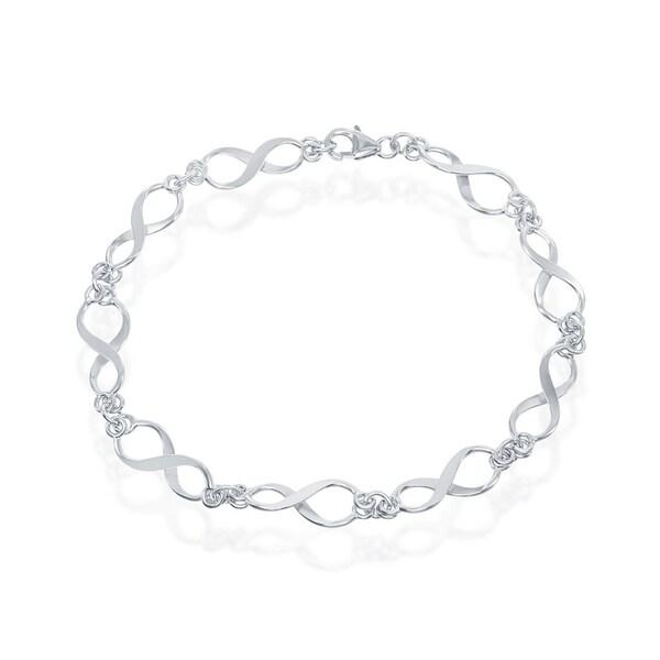 """La Preciosa Sterling Silver 7.25"""" Italian Classy Infinity Linked Bracelet. Opens flyout."""