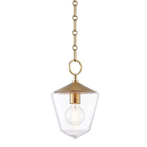 Hudson Valley Greene 1-light Aged Brass Small Pendant, Clear Glass