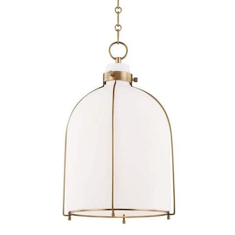 Hudson Valley Eldridge 1-light Aged Brass Pendant, Opal Shiny Glass